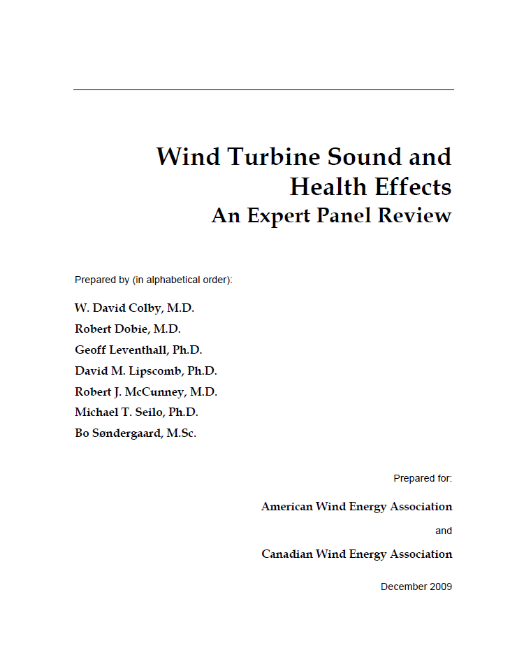 Wind Turbine Sound and Health Effects - An Expert Panel Review