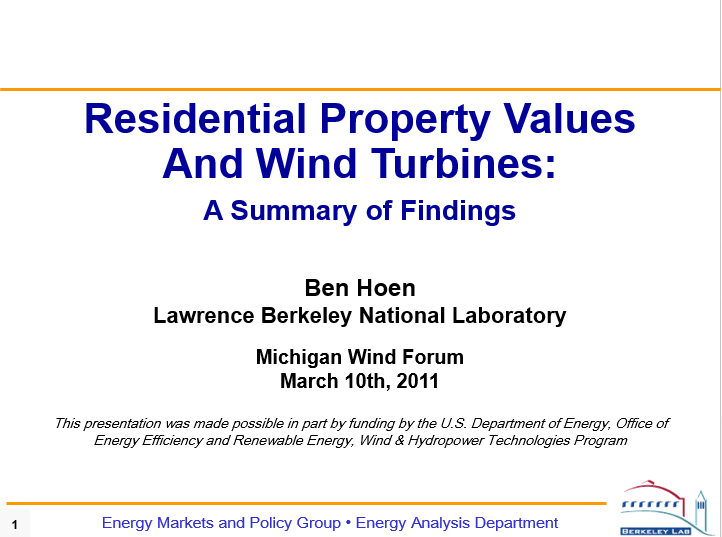 Residential Property Values  And Wind Turbines:  A Summary of Findings