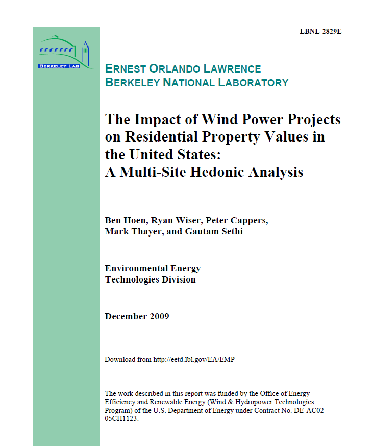 The Impact of Wind Power Projects on Residential Property Values in the United States
